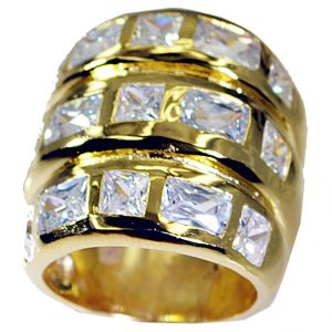 Buy Riyo White Cz 18k Y Gold Plate Sports Ring Sz 7.5 Gprwhcz7.5-110006 online