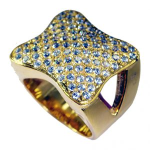 Buy Riyo White Cz 18.kt Gold Plating Cocktail Ring Sz 8.5 Gprwhcz8.5-110018 online