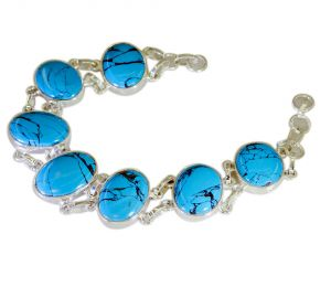 Buy Riyo A Turquoise Alloy Silver Contemporary Bracelet Width 0.7 inches online