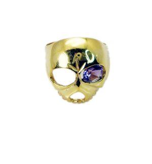 Buy Riyo Gemstone 18kt Gold Plated Skull Ring Gprskull70-280010 online