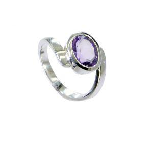 Buy Riyo Amethyst Contemporary Couple Ring Silver Sz 5.5 Srame5.5-2167 online