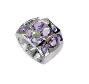 Buy Riyo Amethyst Custom Silver Jewelry Heavy Silver Ring Sz 6 Srame6-2174 online
