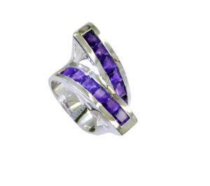 Buy Riyo Amethyst Contemporary Designer Chunky Silver Ring Sz 6.5 Srame6.5-2165 online