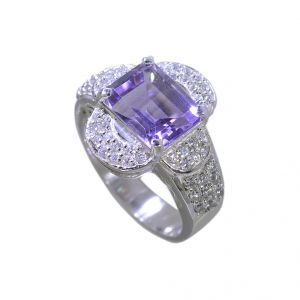 Buy Riyo Amethyst Silver Wedding Jewelry Silver Mothers Ring Sz 7 Srame7-2040 online