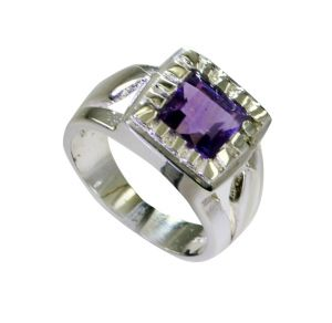 Buy Riyo Amethyst Costume Silver Jewelry Engraved Silver Ring Sz 7 Srame7-2172 online