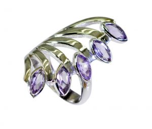 Buy Riyo Purple Amethyst 925 Solid Sterling Silver Fashion Forward Ring Srame90-2186 online