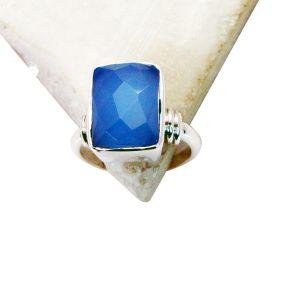 Buy Riyo Blue Chalcedony Cz Silver Jewelry Large Silver Ring Sz 7 Srbch7-8002 online