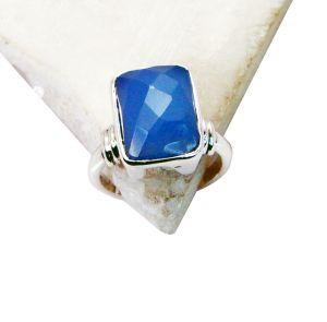 Buy Riyo Blue Chalcedony Daisy Silver Jewellery Long Silver Ring Sz 7 Srbch7-8003 online