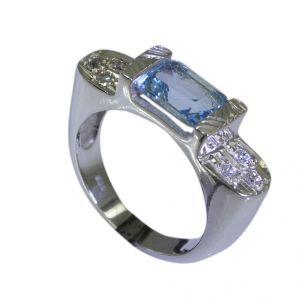 Buy Riyo Blue Topaz Handmade Designer Silver Small Silver Ring Sz 6 Srbto6-10013 online