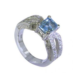 Buy Riyo Blue Topaz Handmade Jewellery Silver Solid Silver Ring Sz 6 Srbto6-10014 online