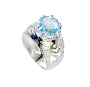 Buy Riyo Blue Topaz Silver Contemporary Brushed Silver Ring Sz 6 Srbto6-10106 online