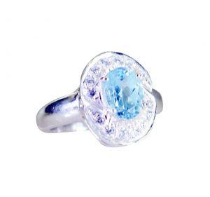 Buy Riyo A Blue Topaz 925 Solid Sterling Silver Handcrafted Ring Srbto60-10118 online