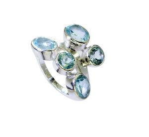 Buy Riyo Blue Topaz Silver Button Jewellery Antique Silver Ring Sz 6.5 Srbto6.5-10102 online