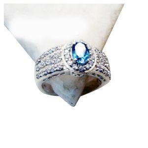 Buy Riyo Blue Topaz Luxury Silver Jewelry Eternity Ring Sz 7 Srbto7-10048 online