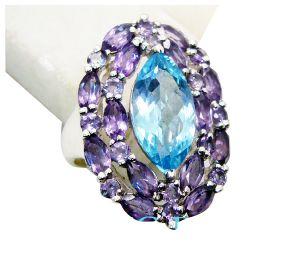 Buy Riyo Blue Topaz Old Silver Jewelry Handmade Ring Sz 7 Srbto7-10057 online