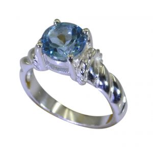 Buy Riyo A Blue Topaz 925 Solid Sterling Silver Hand Hammered Ring Srbto70-10111 online