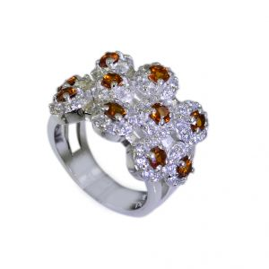Buy Riyo Citrine Silver Daisy Jewellery Design Your Own Silver Ring Sz 5.5 Srcit5.5-14004 online