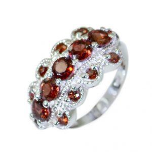 Buy Riyo Garnet Silver Personalised Jewellery Oxidized Silver Ring Sz 5 Srgar5-26008 online