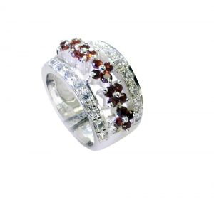 Buy Riyo Garnet Jaipur Silver Jewelry Twisted Silver Ring Sz 7 Srgar7-26232 online