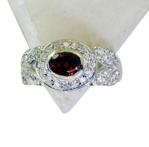 Buy Riyo Garnet Fake Silver Jewelry Personalized Silver Ring Sz 8 Srgar8-26181 online