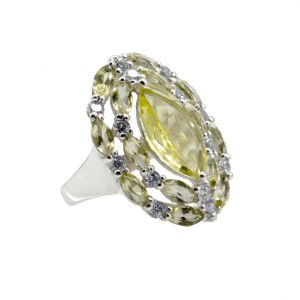 Buy Riyo A Lemon Quartz 925 Solid Sterling Silver Two Tone Ring Srlqu90-46034 online