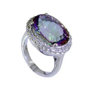 Buy Riyo Mystic Quartz Silver Filigree Jewellery Braided Silver Ring Sz 5.5 Srmqu5.5-54003 online
