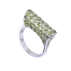 Buy Riyo Peridot Silver Jewellery With Stones Thick Silver Ring Sz 6 Srper6-58005 online