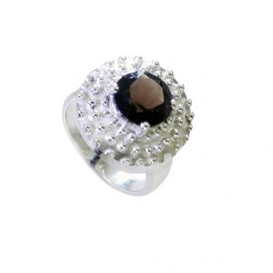 Buy Riyo Smoky Quartz Stamped Silver Jewellery Ladies Silver Ring Sz 8 Srsqu8-76037 online