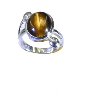 Buy Riyo Brown Tiger Eye 925 Solid Sterling Silver Bejeweled Ring Srtey55-80010 online