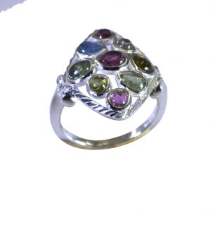 Buy Riyo Tourmaline 925 Solid Sterling Silver Colorful Ring Srtou60-84145 online