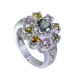 Buy Riyo Tourmaline Beaten Silver Jewellery Gems Sz 7 Srtou7-84065 online