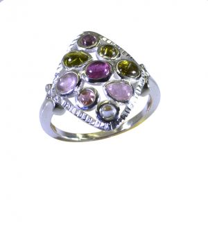 Buy Riyo Tourmaline 925 Solid Sterling Silver Contemporary Ring Srtou70-84143 online