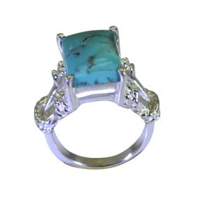 Buy Riyo A Turquoise 925 Solid Sterling Silver Cutting EDGE Ring Srtur65-82039 online