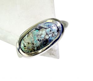 Buy Riyo Turquoise Hammered Silver Silver 925 Ring Sz 8 Srtur8-82027 online