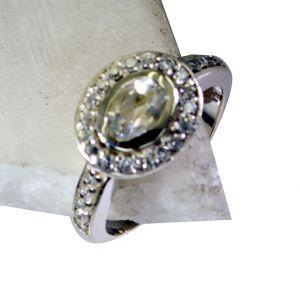 Buy Riyo White Cz Jaipur Silver Jewellery Silver Ring Settings Sz 8 Srwhcz8-110017 online