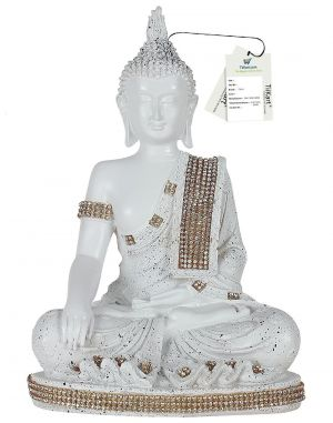 Buy Tiikart Meditating Buddha Sculpture Showpiece - 27 Cm (polyresin, Antique White) Buddha Idol online