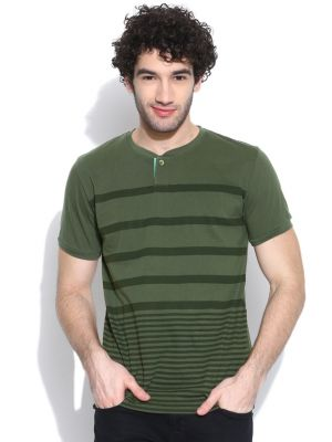 Buy Cult Fiction Henleys Half Sleeves Olive T-shirt For Mens online