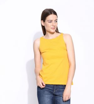 Buy Cult Fiction Yellow Cotton Sleeveless Tee For Women online