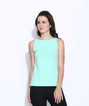 Buy Cult Fiction Lite Green Cotton Solid Sleeveless Tee For Women online
