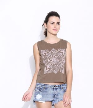 Buy Cult Fiction Brown Cotton Printed Sleeveless Tee For Women online