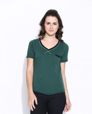 Buy Cult Fiction Dark Green Cotton Solid Short Sleeve Tee For Women online