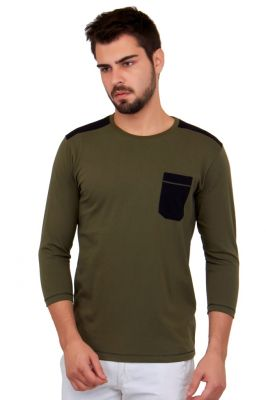 Buy Cult Fiction Solid Dark Green Color Cotton Tshirt online
