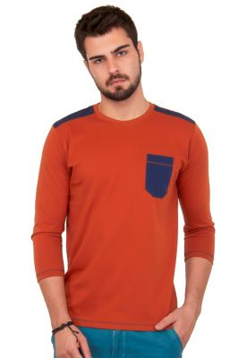 Buy Cult Fiction Solid Orange Color Cotton Tshirt online