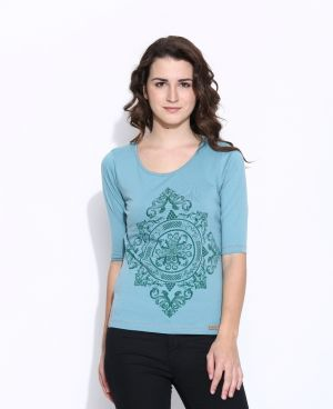 Buy Cult Fiction Blue Color Cotton Three Quarter Length Tee For Women online