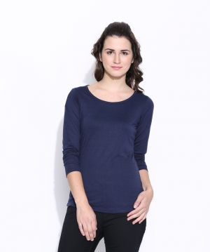 Buy Cult Fiction Dark Blue Cotton Solid Long Sleeve Tee For Women online
