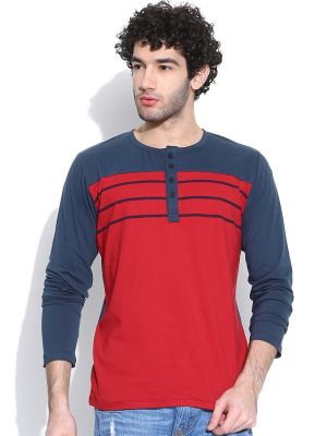 Buy Cult Fiction Henleys / Long Sleeves Red T-shirt For Mens online