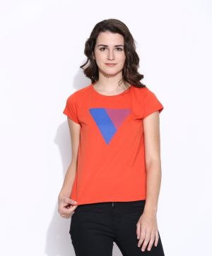 Buy Cult Fiction Orange Cotton Cap Sleeve Tee For Women online