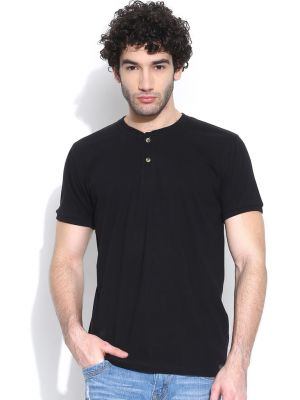 Buy Cult Fiction Henleys Half Slvs Black T-shirt For Mens online