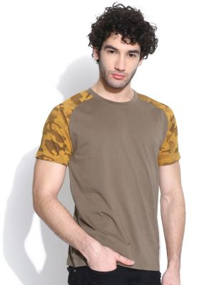 Buy Cult Fiction Raglan/contrast Sleeve Brown T-shirt For Mens online