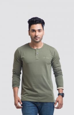 Buy Cult Fiction Cotton Green Solid Men
